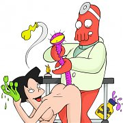 Amy sneaks into Doc Zoidberg's lab and discovers some naughty sex